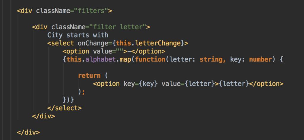ReactJS Listing Filter Code des Filters