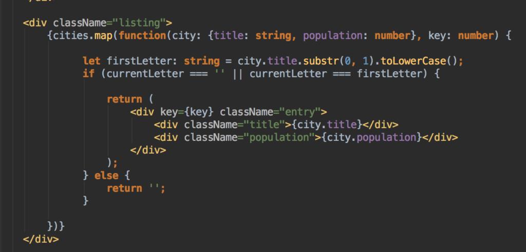 ReactJS Listing Filter Code des Listings