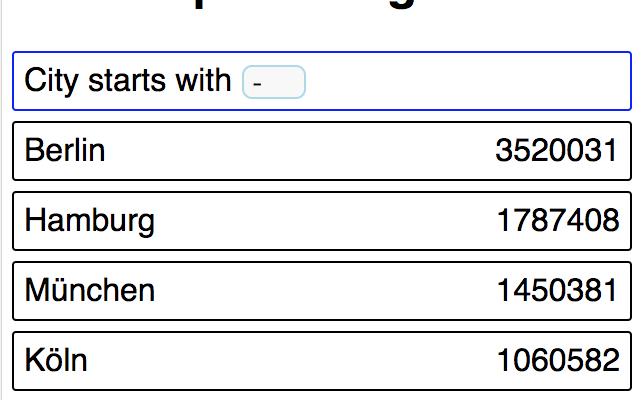 So sieht das Listing-Filter Beispiel mit ReactJS aus