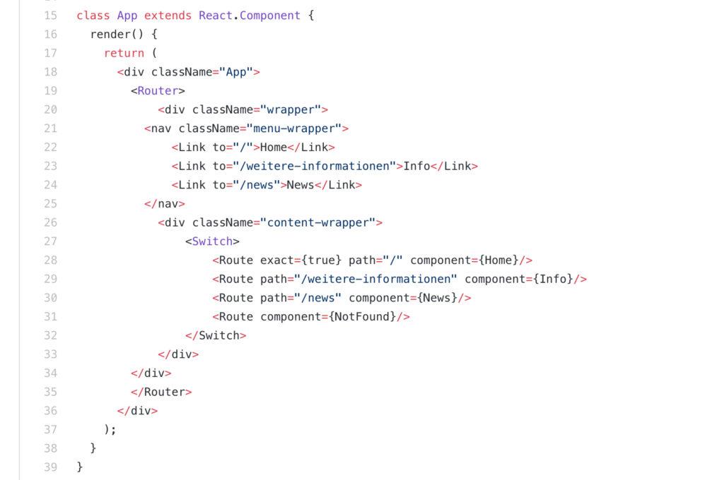 React Anwendung mit Routes